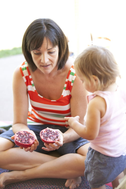 Deb Blakley teaching a child about pomegranates