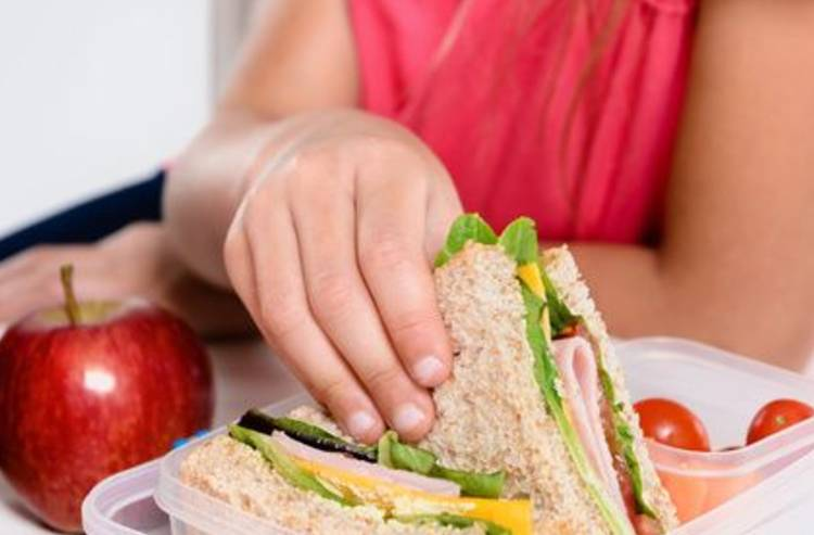 image of child with a healthy sandwich and apple
